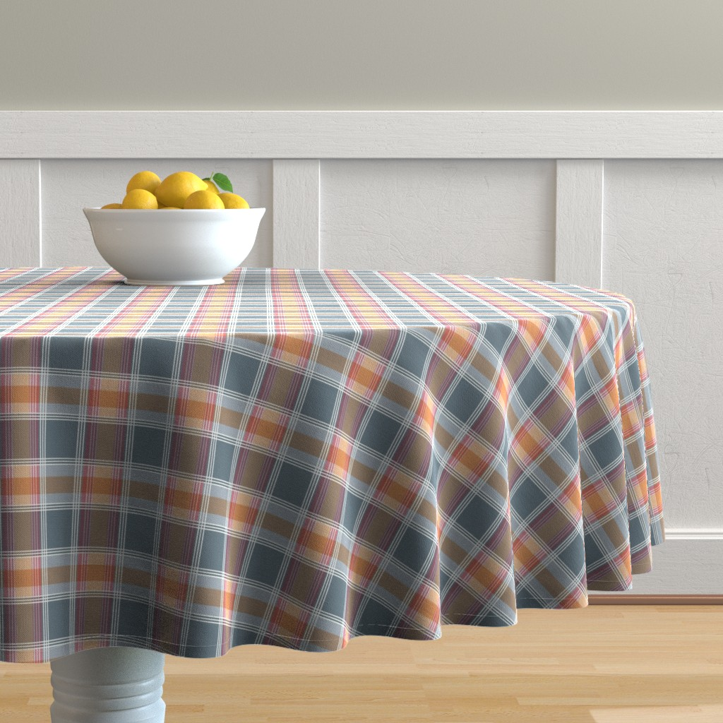 Malay Round Tablecloth featuring Plaid pattern orange and gray by jaanahalme