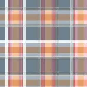 Plaid pattern orange and gray