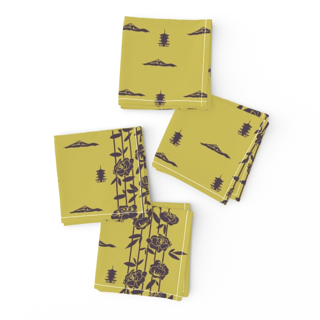 Frizzle Cocktail Napkins featuring Japanese Scenery Silhouette by jaanahalme