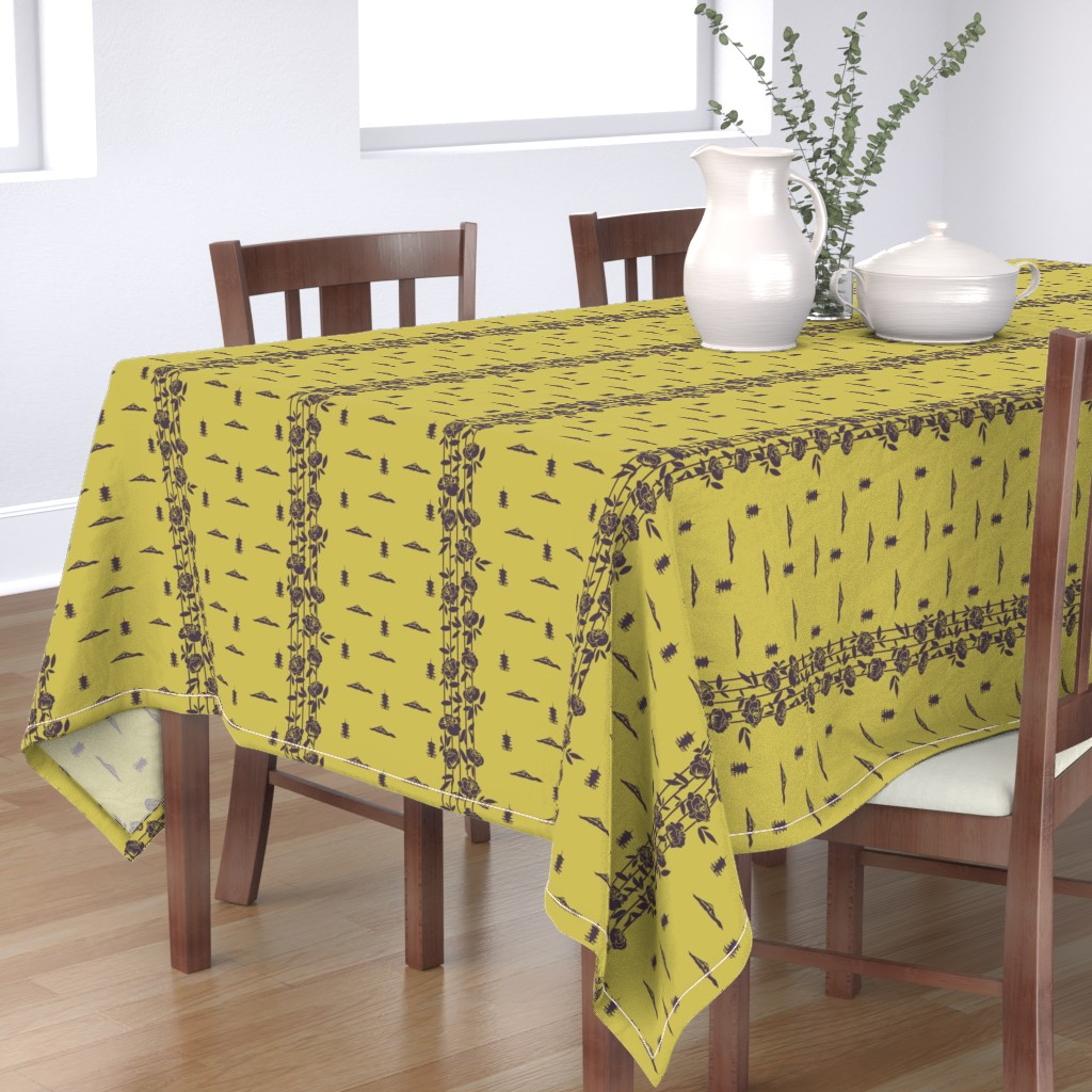 Bantam Rectangular Tablecloth featuring Japanese Scenery Silhouette by jaanahalme