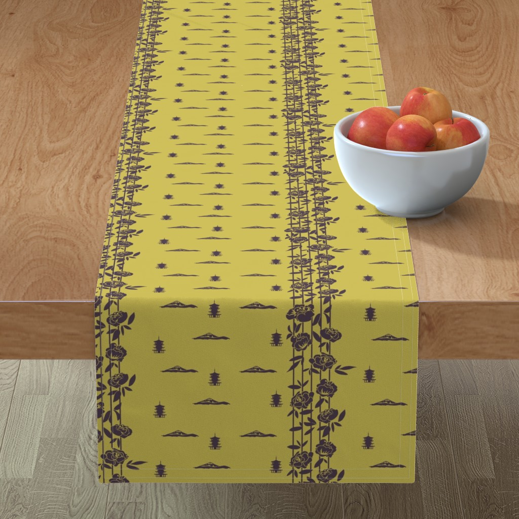 Minorca Table Runner featuring Japanese Scenery Silhouette by jaanahalme