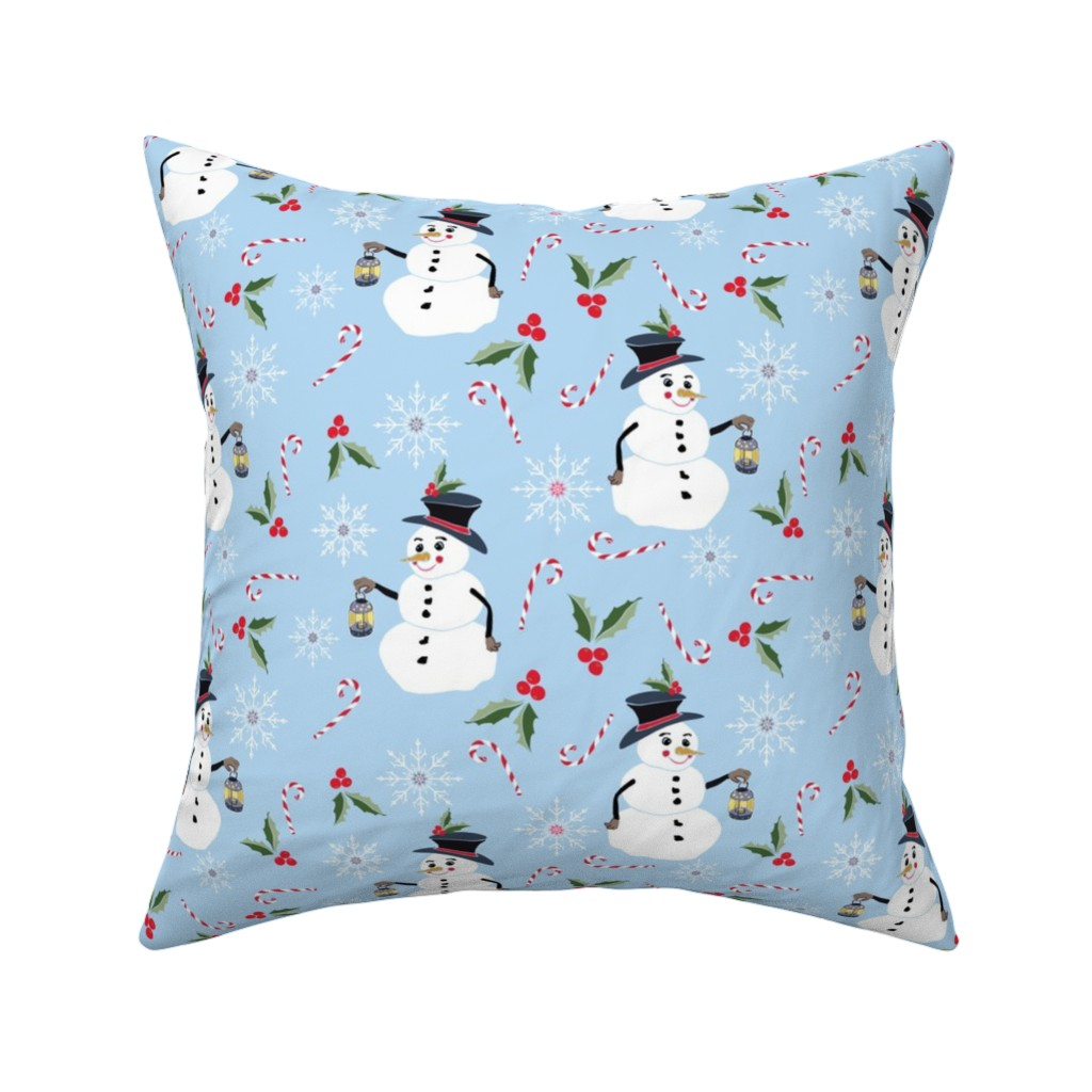 Catalan Throw Pillow featuring Snowman and Lantern by jaanahalme