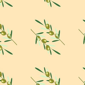 Olive branches pattern on beige background