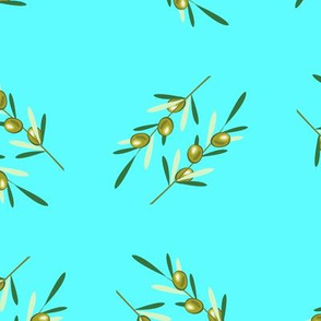 Olive branches pattern on blue background