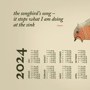 German 2021 Calendar, Monday / Haiku Songbird