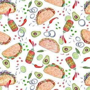 Taco Party  // Mexican Fiesta // painted in watercolor