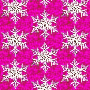 White snowflake on Pink texture