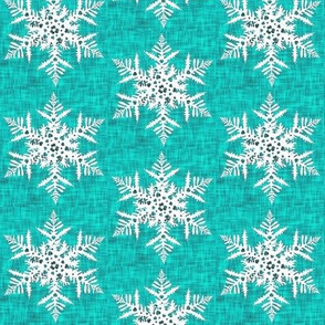 1950s White snowflake on teal texture