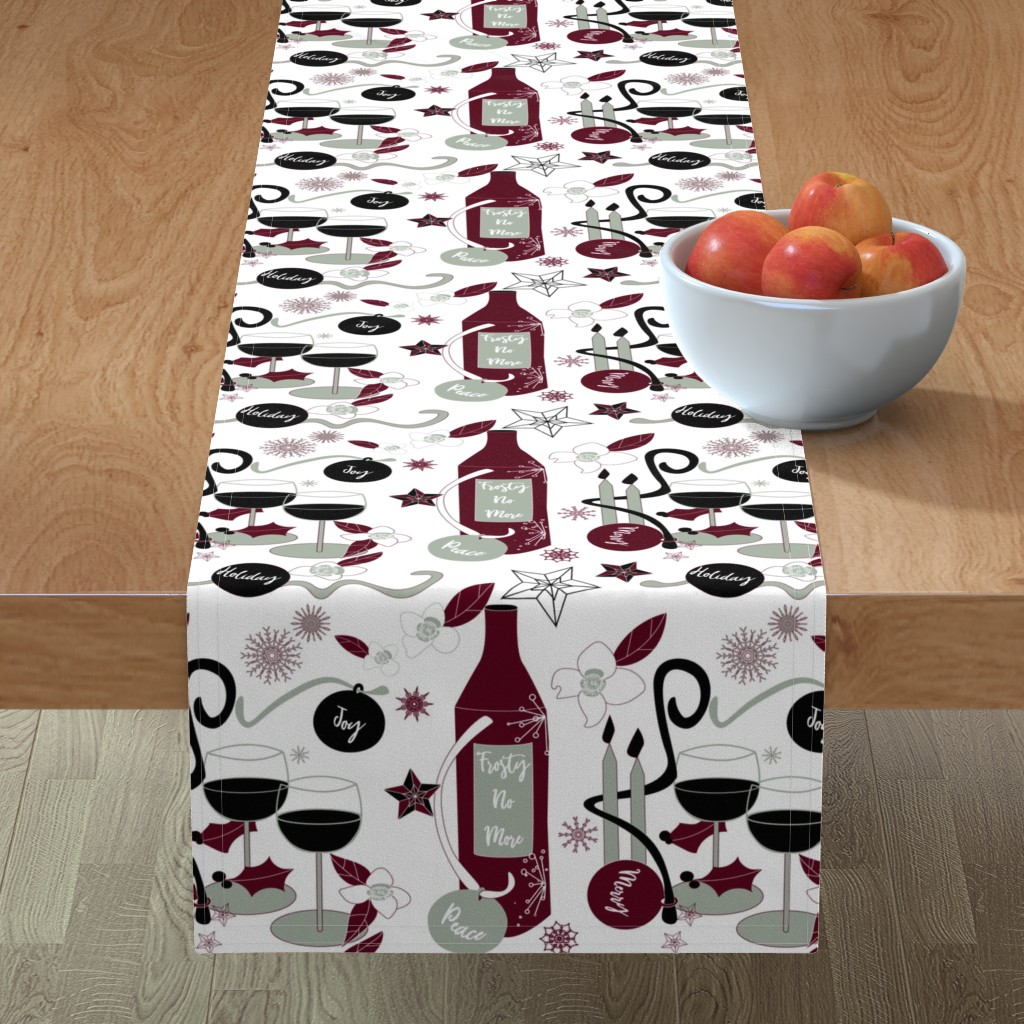Minorca Table Runner featuring Frosty No More - elegant on White by stasiajahadi