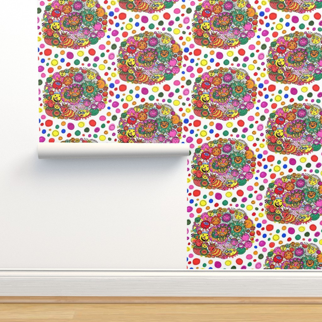 Isobar Durable Wallpaper featuring circle of circular stuff colorful doodle, large scale, white rainbow by amy_g