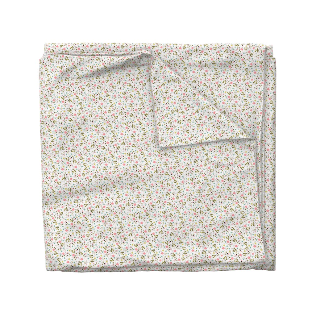Wyandotte Duvet Cover featuring Ditsy prints flower in white by lucybaribeau