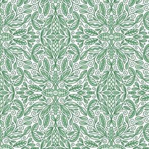 "Green Leaf Doodle Medallion (small 6"")"