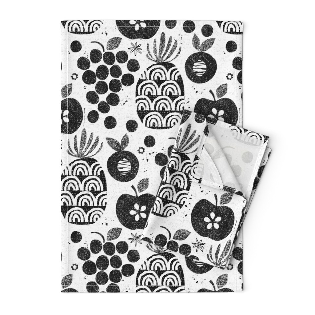 Orpington Tea Towels featuring Let fruit be thy medicine-black and white by ottomanbrim