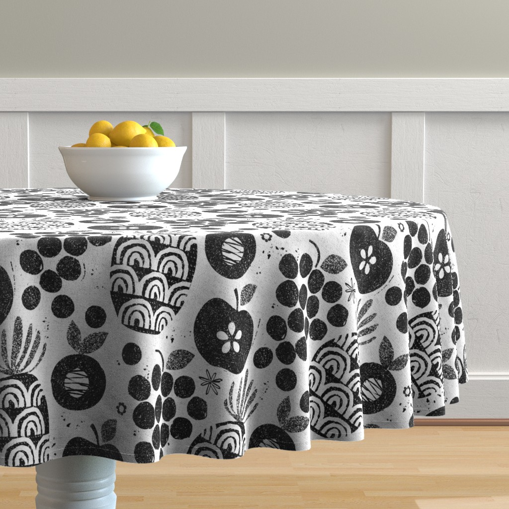 Malay Round Tablecloth featuring Let fruit be thy medicine-black and white by ottomanbrim