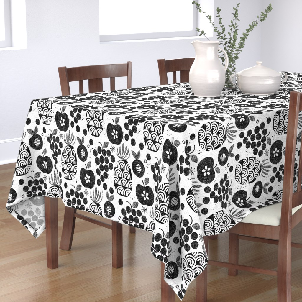 Bantam Rectangular Tablecloth featuring Let fruit be thy medicine-black and white by ottomanbrim