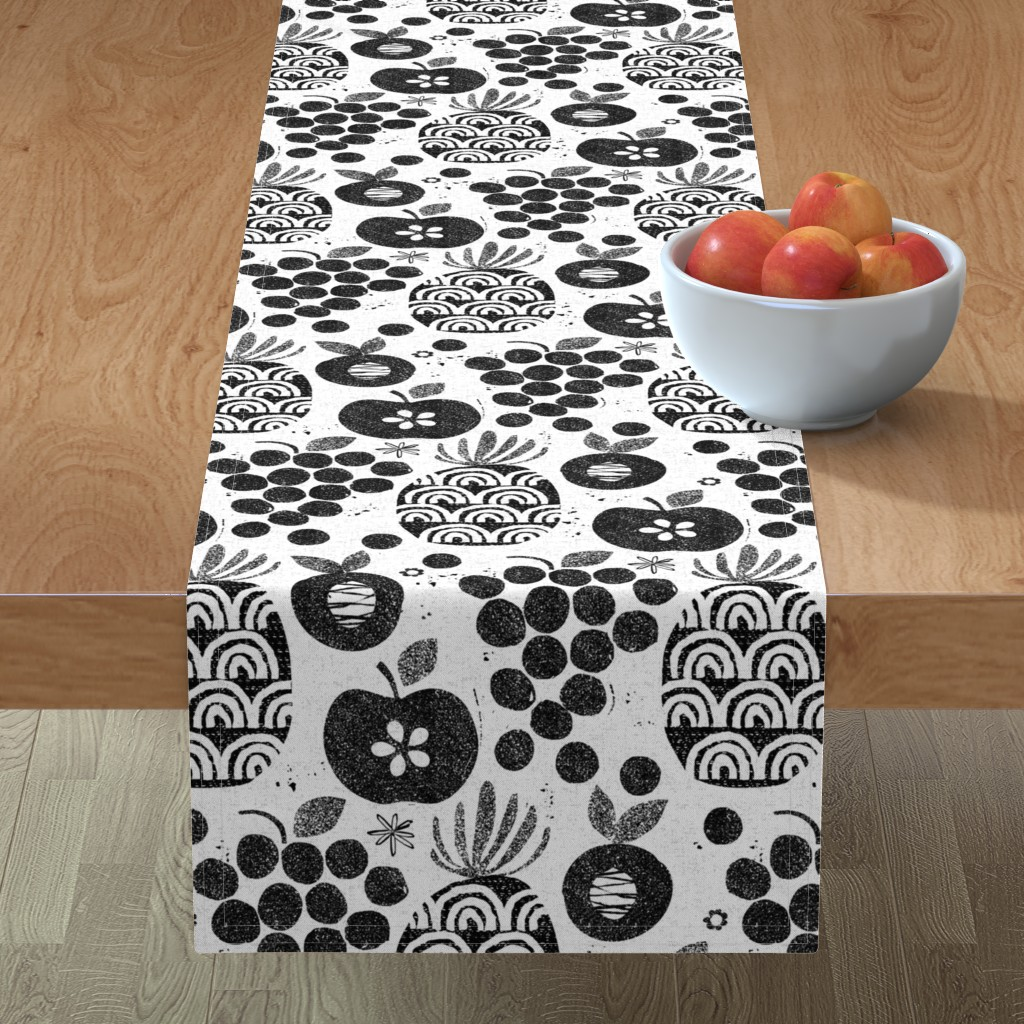 Minorca Table Runner featuring Let fruit be thy medicine-black and white by ottomanbrim