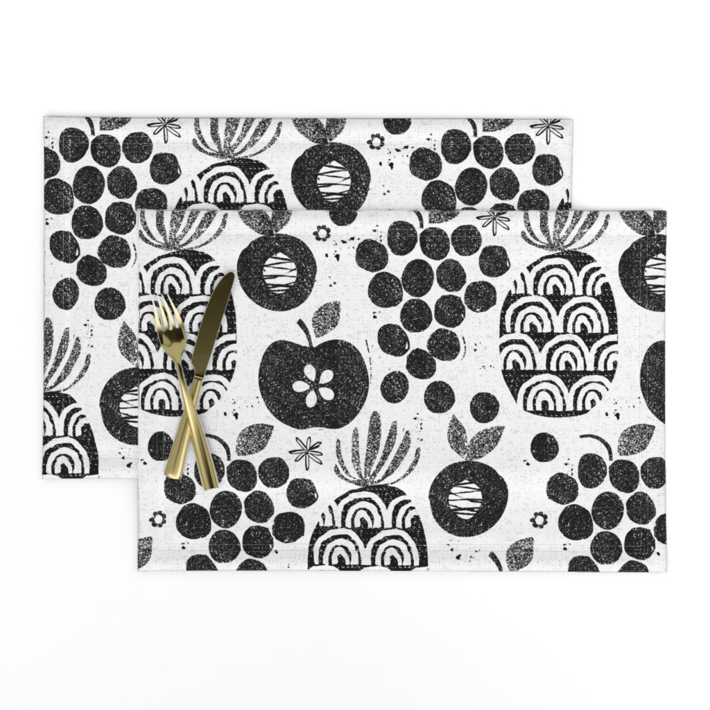 Lamona Cloth Placemats featuring Let fruit be thy medicine-black and white by ottomanbrim