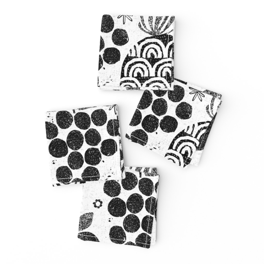 Frizzle Cocktail Napkins featuring Let fruit be thy medicine-black and white by ottomanbrim