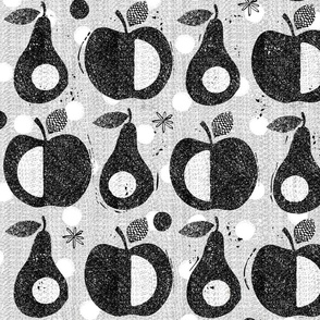 Apples and pears-black and white