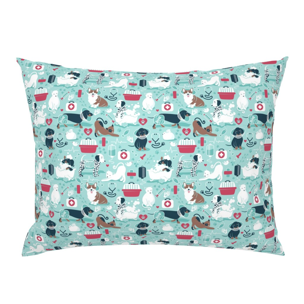 Campine Pillow Sham featuring VET medicine happy and healthy friends // small scale // aqua background red details navy blue white and brown cats dogs and other animals by selmacardoso