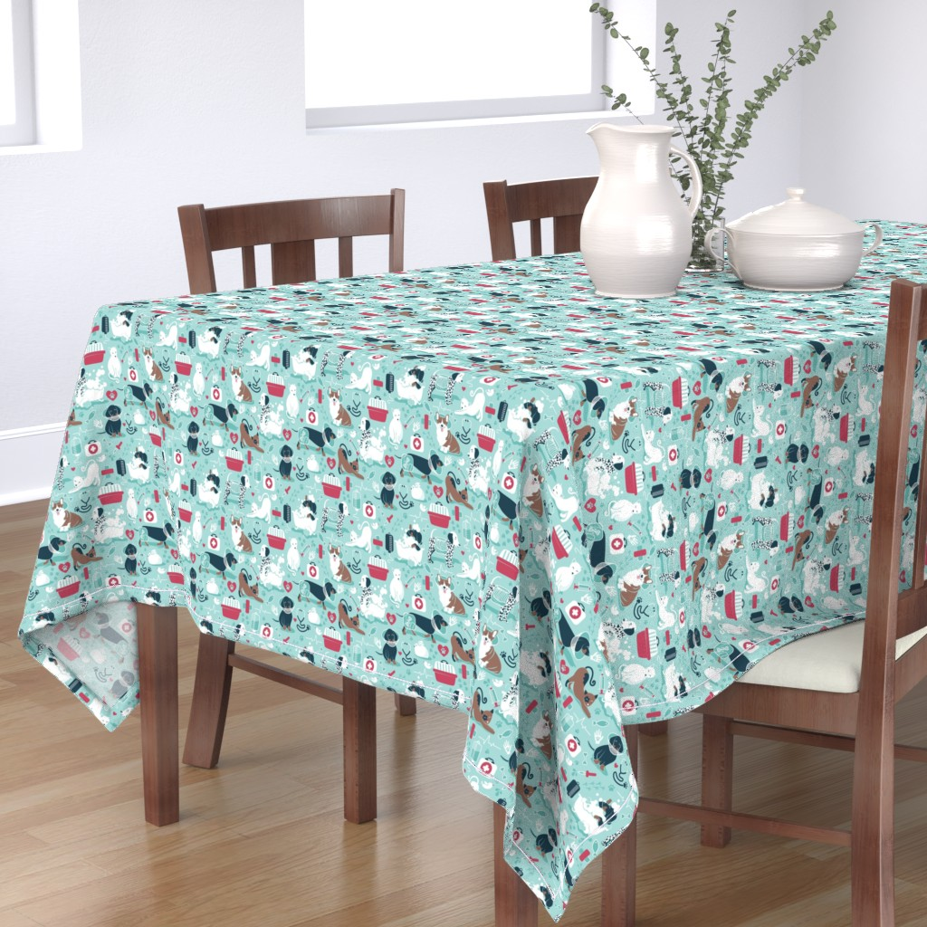 Bantam Rectangular Tablecloth featuring VET medicine happy and healthy friends // small scale by selmacardoso