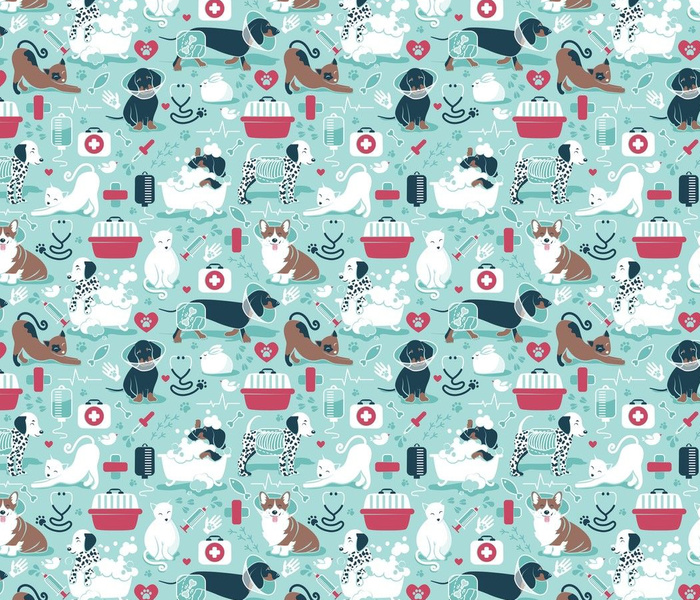 Small scale // VET medicine happy and healthy friends // aqua background red details navy blue white and brown cats dogs and other animals
