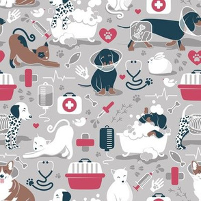 Small scale // VET medicine happy and healthy friends // grey background red details navy blue white and brown cats dogs and other animals