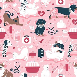 Small scale // VET medicine happy and healthy friends // pink background red details navy blue white and brown cats dogs and other animals