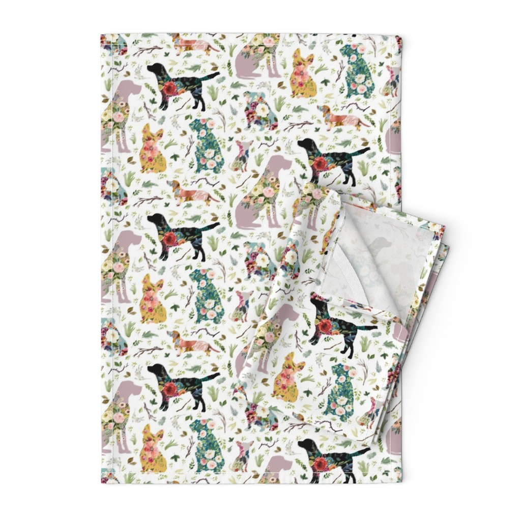 "Orpington Tea Towels featuring 8"" Patchwork Dogs by shopcabin"