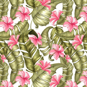 Green Tropical Leaves with Flowers