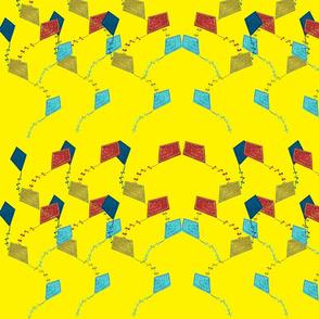 Flying kites yellow