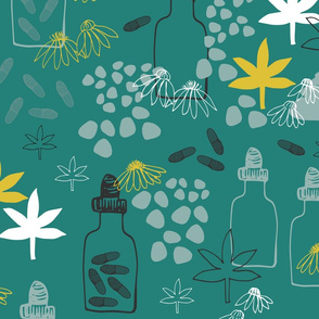 Abstract Medicinal Plants And Flowers