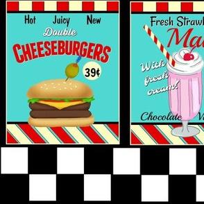 Fran's Diner/ 50s  Food Signs / greasy spoon /red/teal