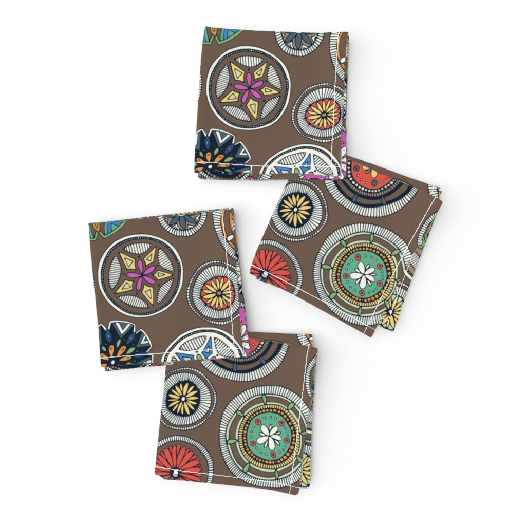 Frizzle Cocktail Napkins featuring pango mandala truffle by scrummy