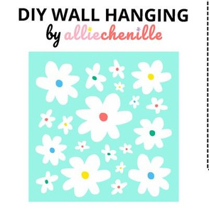 Mint white daisies DIY wall hanging project cut and sew