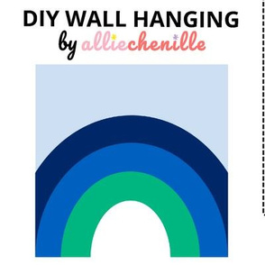 Blue green rainbow DIY wall hanging cut and sew project
