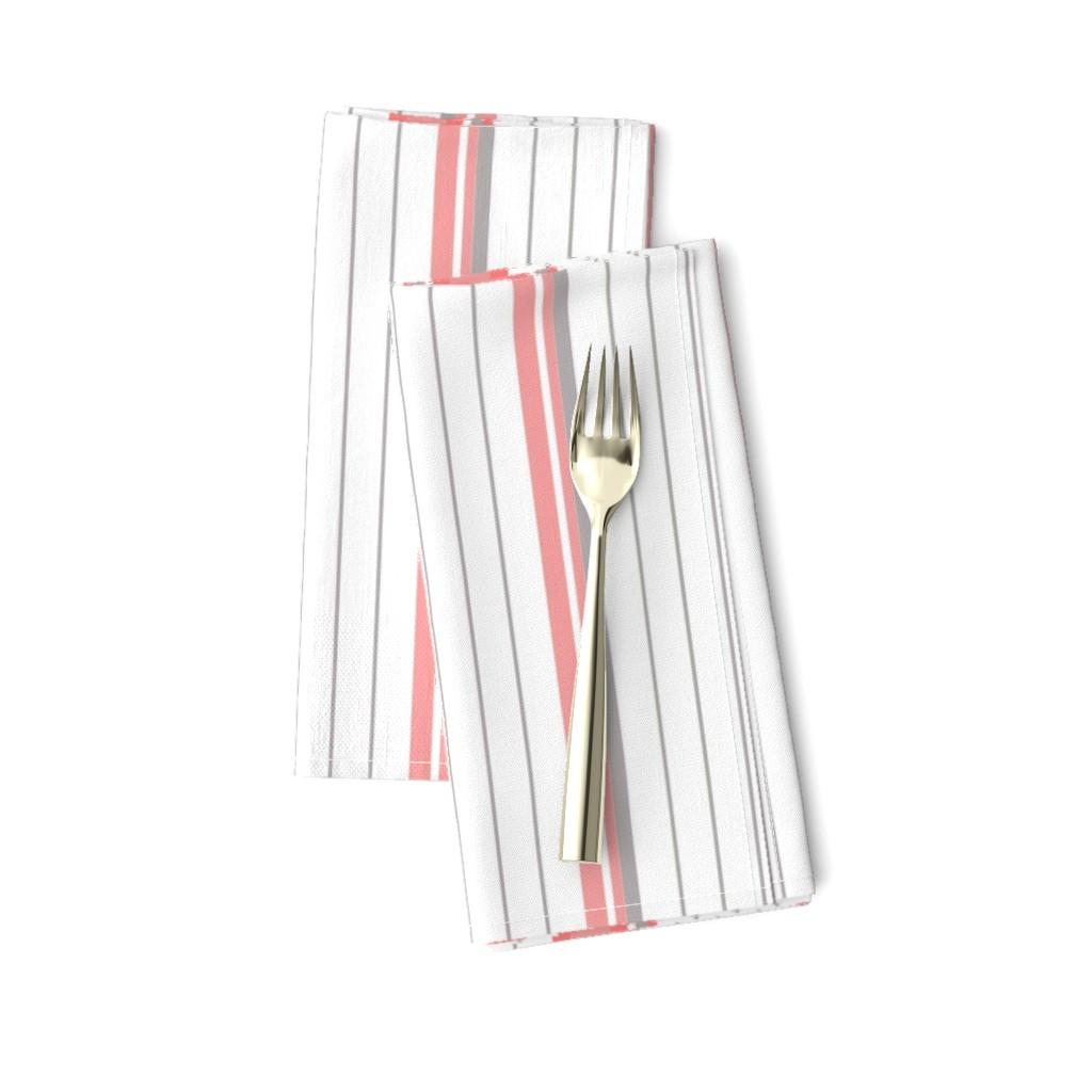 Amarela Dinner Napkins featuring Coral Pink & Gray Striped Stripe by cjohnson_art&design