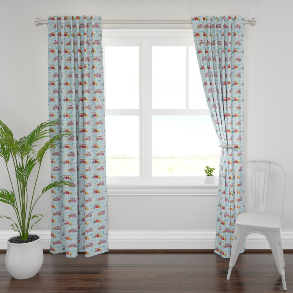 Plymouth Curtain Panel featuring Hippy Beetles by colour_angel_by_kv