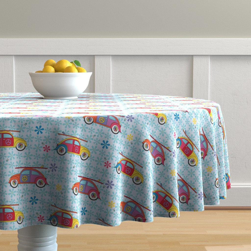 Malay Round Tablecloth featuring Hippy Beetles by colour_angel_by_kv