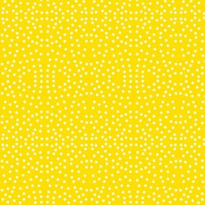 Dotty Eyelet Lace of Icy Cream on Daffodil Yellow - Small Scale