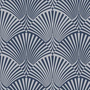 Azul Art Deco Fans Alternated