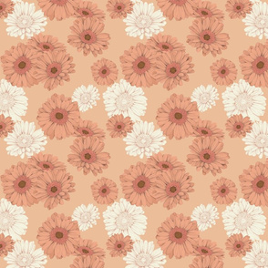 Gerbera daisies on orange