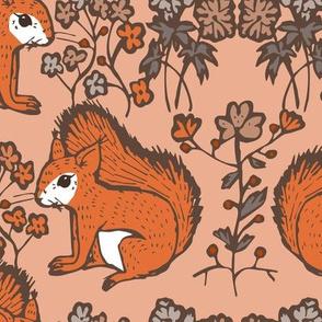 squirrel motif bold pink