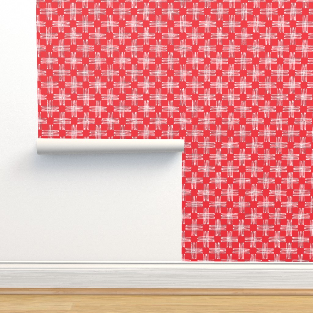 Isobar Durable Wallpaper featuring scribble check (red)  by kate_rowley