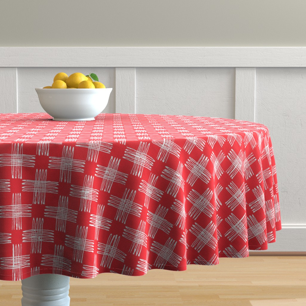 Malay Round Tablecloth featuring scribble check (red)  by kate_rowley