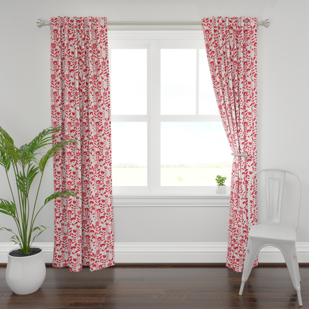 Plymouth Curtain Panel featuring cutout flower small scale(red on white)  by kate_rowley