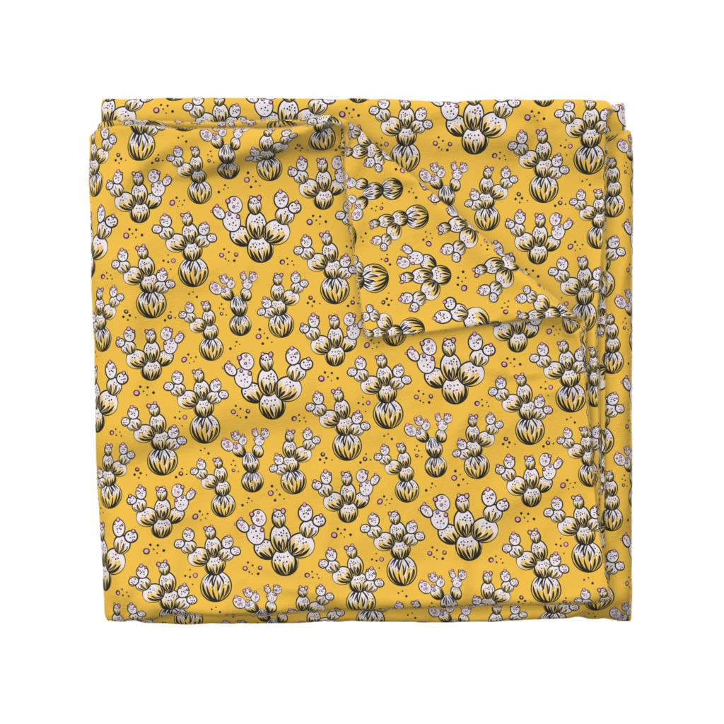 Wyandotte Duvet Cover featuring circle and dot cacti - yellow by vivdesign