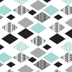 Aztec mint blue black and white geometric diamond fabric  rotated