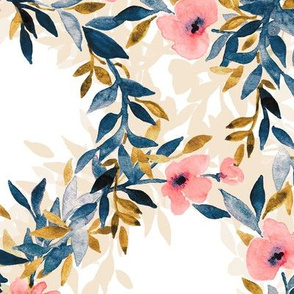 Interlocking Watercolor Floral Blossom Wreaths - large