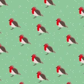 Winter wonderland red robin birds in snow mint red gender neutral SMALL